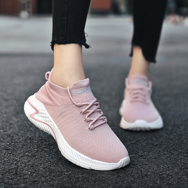 Women Shoes Flats Fashion Casual 2021 New Fashion Lace-Up Mesh Breathable Ladies Sneakers Sports Wal