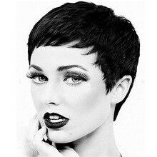 Parrucca sintetica corta dritta con frangia per donna capelli resistenti al calore parrucche bionde marroni nere naturali