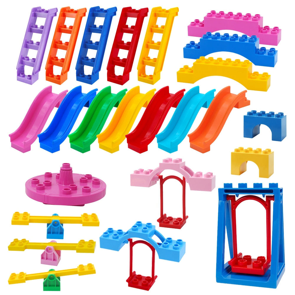 Duplos Blocks Amusement Park Ladder Swing Accessory Large Particle Carousel City Building Child Bric
