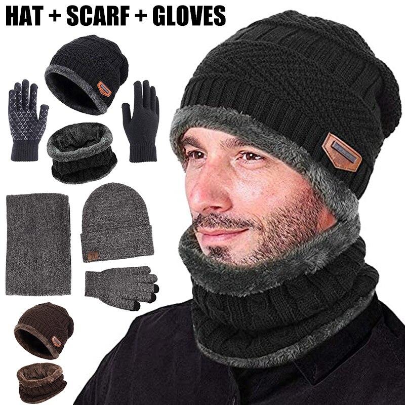 Winter Warm Beanie Hat Scarf Gloves Set Unisex Knitted Neck Glove for Men Women TY66