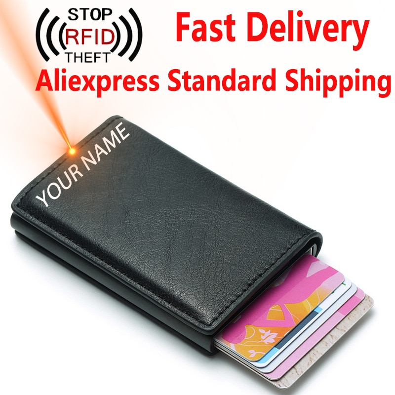 RFID Blocking Credit Card Holder Bank Men Wallets Mini Automatic ID Card Holder PU Leather Money Bag Male Short Purse Business