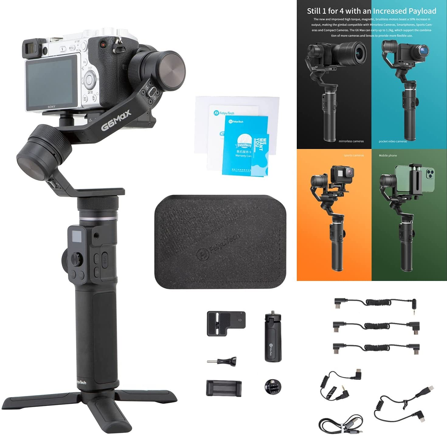 Get FeiyuTech G6 Max 3-Axis Stabilizer Camera Gimbal for Mirrorless/Pocket/Action Camera/Smartphone iPhone 12 Pro Max, Payload 1.2kg