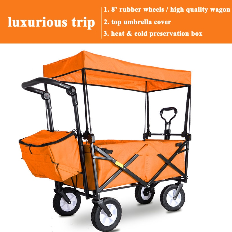 Collapsible Folding Wagon Portable Heavy-Duty Utility Canvas Foldable Table Top for Outdoor Pinic Camping Groceries Garden