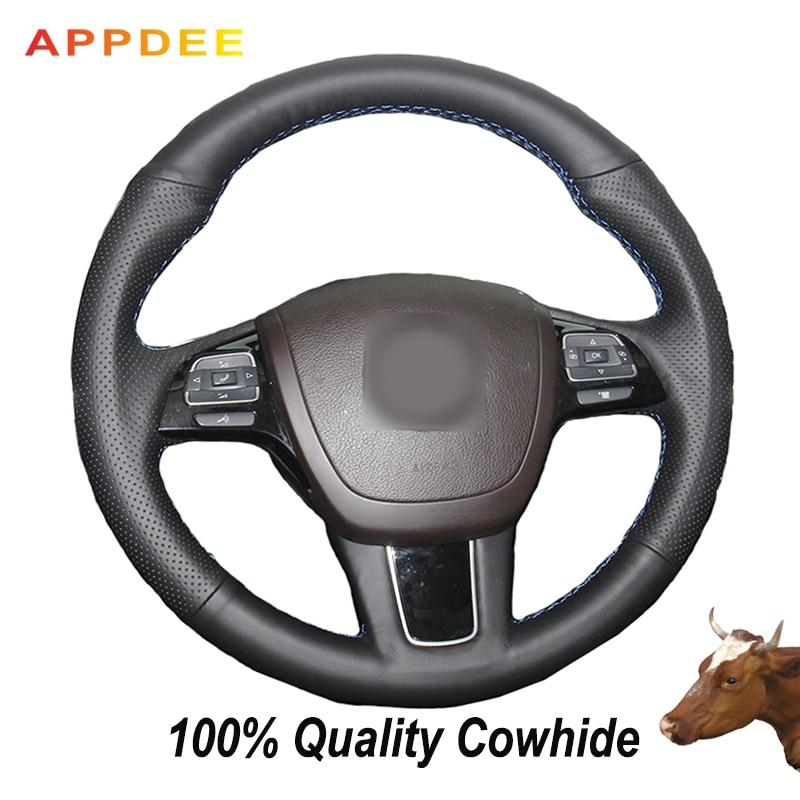 APPDEE mano-negro de punto de cuero genuino cubierta de volante para VW Touareg 2011 de 2017