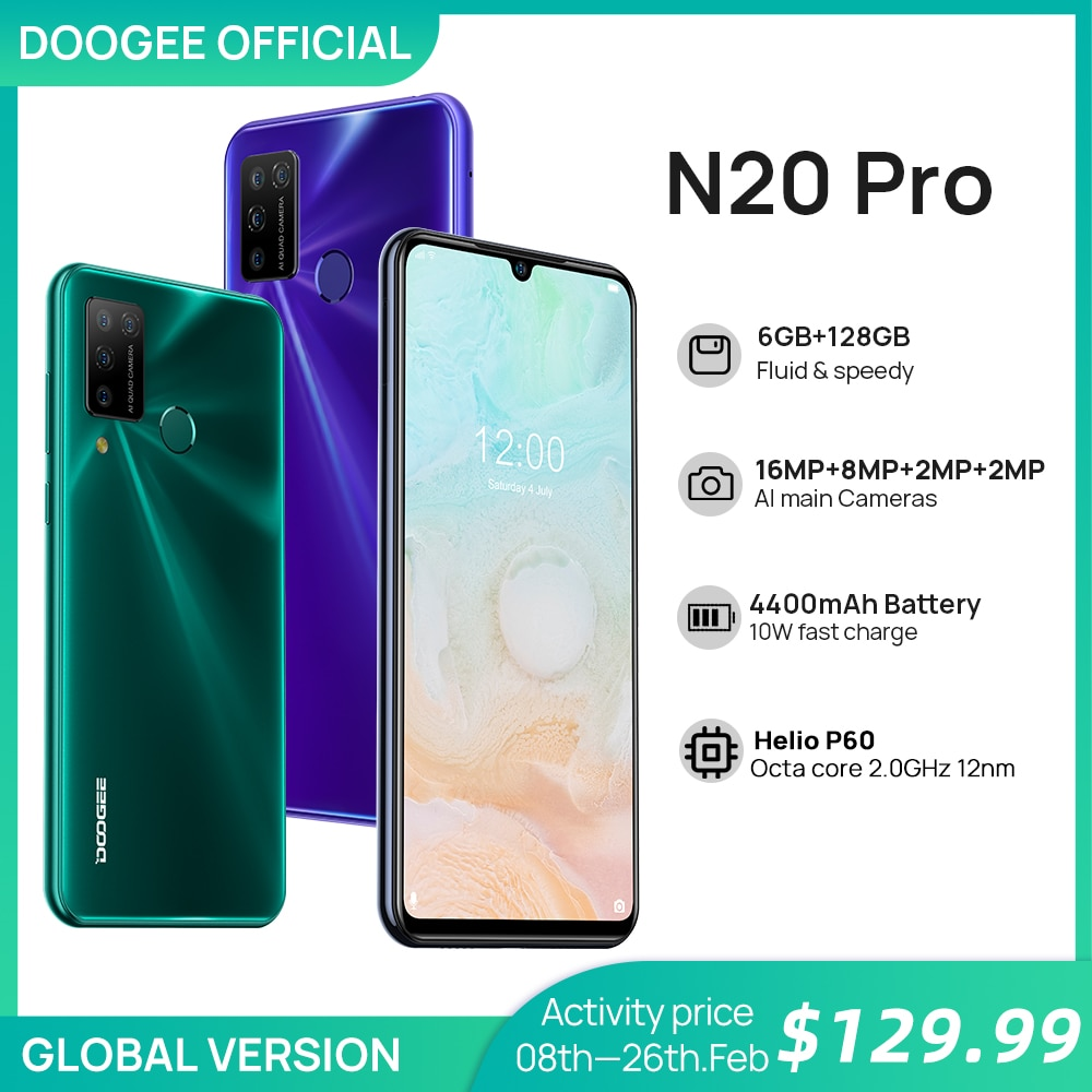 """DOOGEE N20 Pro Quad Camera Mobile Phones Helio P60 Octa Core 6GB RAM 128GB ROM Global Version 6.3"""" FHD+ Android 10 OS Smartphone"""