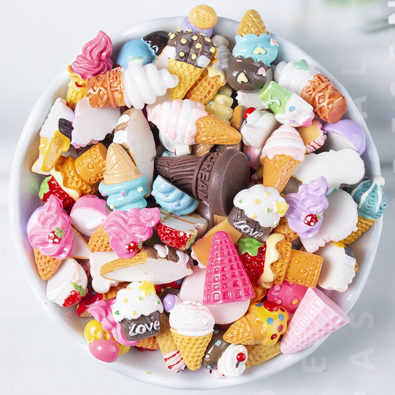 20Pcs Mix Flatback Resin Cabochons Ice Cream Embellishments 14-24mm For Jewelry Making DIY Headwear Accessories Crafts Materials недорого
