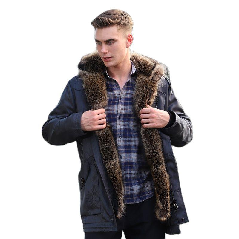 Rabbit fur lined bomber jacket men's natural winter coat locomotive real fur coat leather real raccoon fur parker men