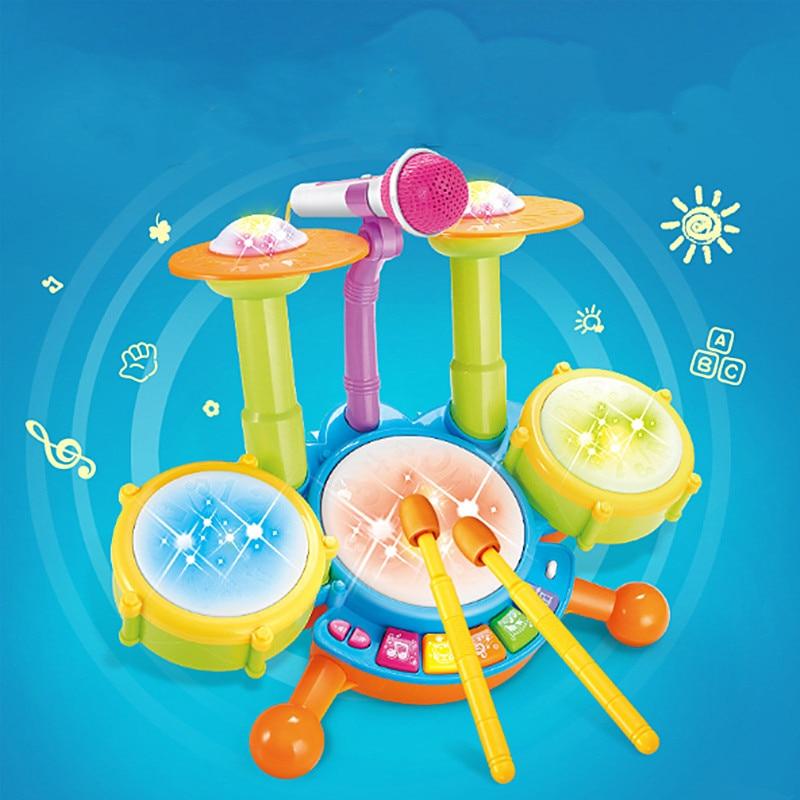 Kit de batería para niños, batería para Jazz de juguete con micrófono, instrumento de reproducción de tambor de música para Educación Temprana de bebé con luz eléctrica, juego de juguete para regalo