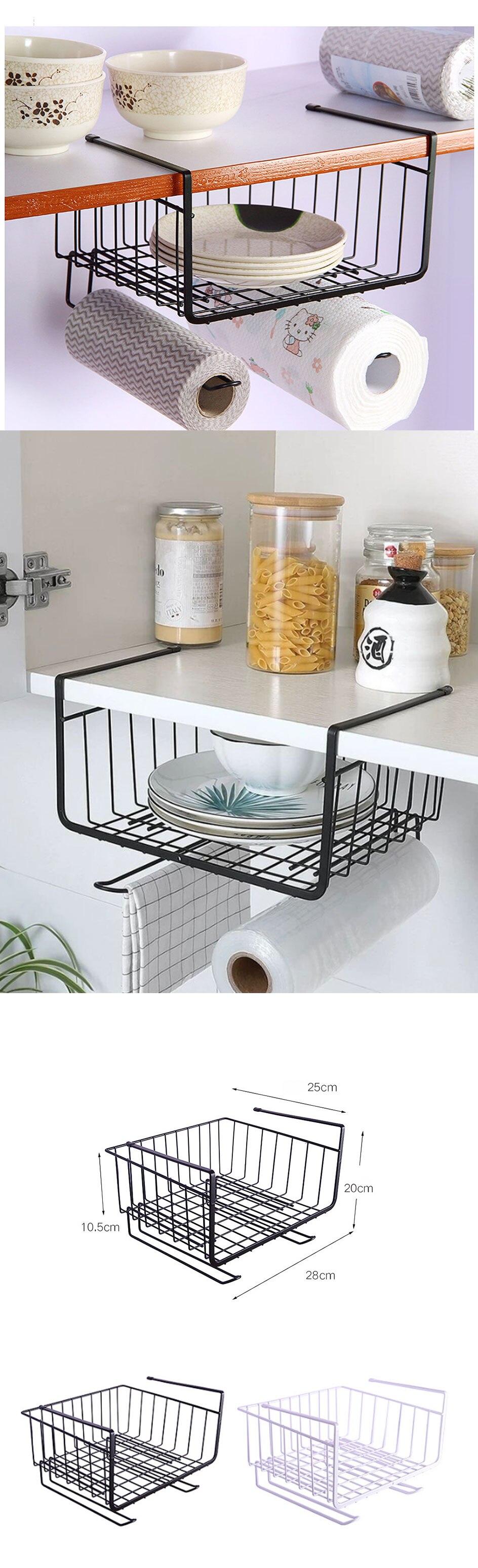 Under Cabinet Organizer Shelf Hanging Storage Baskets