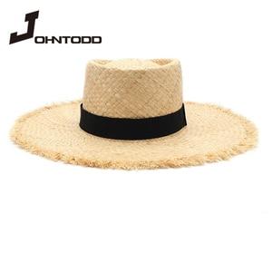 New ladies raffia hat with elegant bow Korean style straw hat women flat top panama hat UV protection summer vacation hat cap