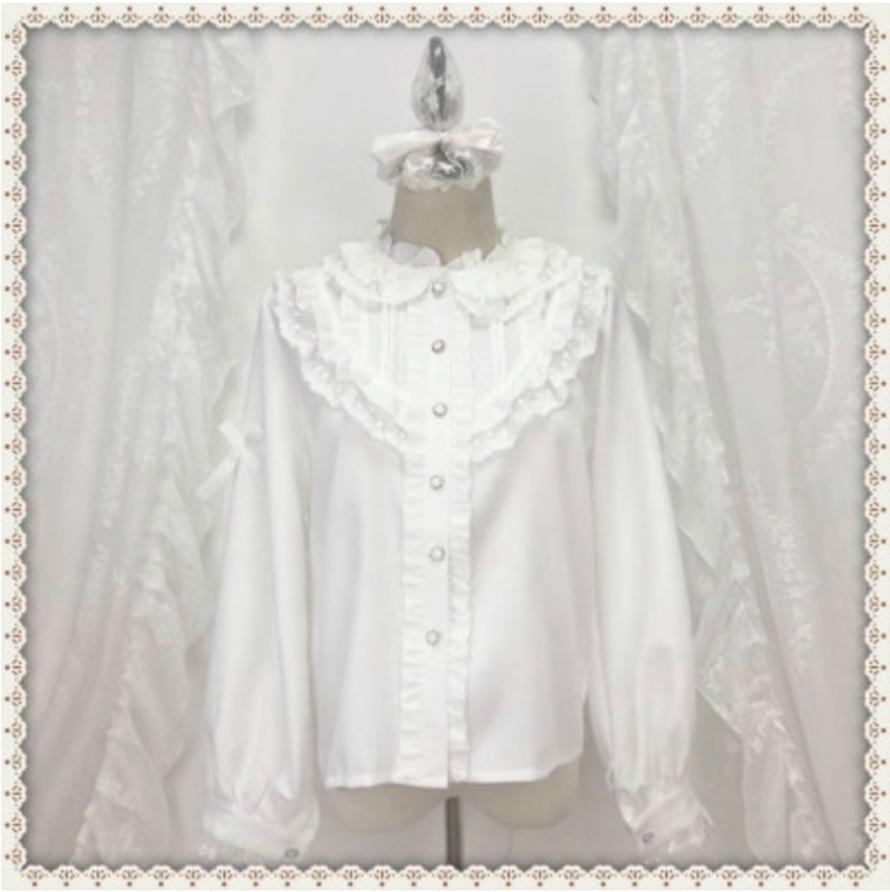 Белая рубашка в Корейском стиле, с воротником-стойкой, пышными рукавами и рюшами