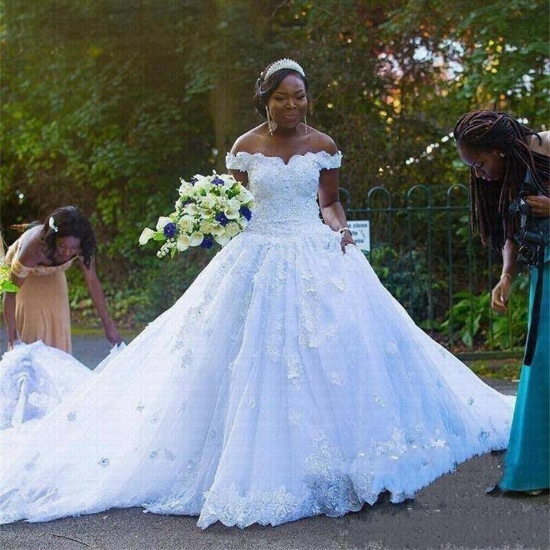 فستان زفاف أفريقي ، أكتاف عارية ، دانتيل ، زينة لؤلؤية ، زهور ثلاثية الأبعاد ، أسود ، مقاس كبير للبنات
