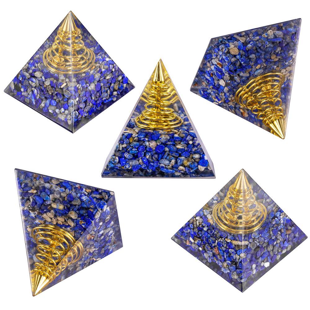 TUMBEELLUWA cristal curativo Orgone pirámide con punto espiral dorado, orgonita generador de energía para Yoga chakra de meditación equilibrio