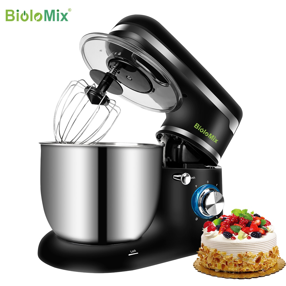 BioloMix Stand Mixer Stainless Steel Bowl 6-speed Kitchen Food Blender Cream Egg Whisk Cake Dough Kneader Bread Maker