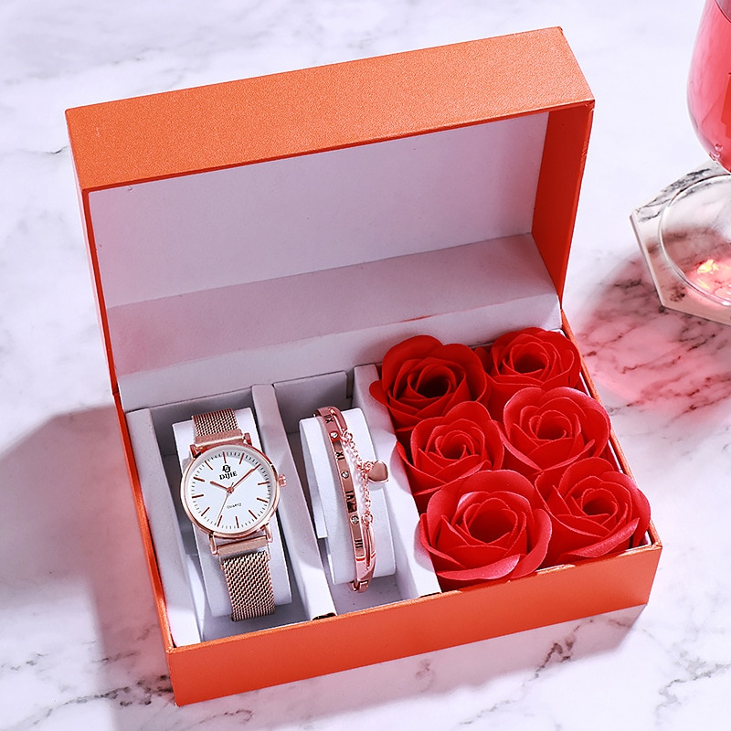 Fashion Gift Watch Lover Confession Rose Flower Bracelet Wrist Watches Box Set Valentine's Day Wife Gift Wristwatch 2020 A4042 enlarge