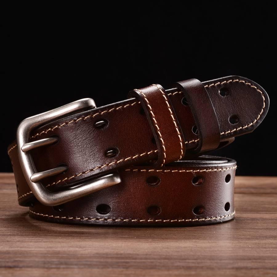 جديد أحزمة جلدية للرجال الكلاسيكية صف مزدوج حفرة حزام العالمي تجويفه حزام الجينز الرجال جلدية مزدوجة الشق حزام
