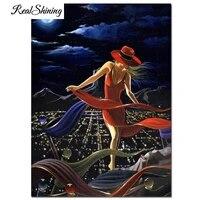 Peinture de diamant theme ville lune rouge fille  broderie complete 5D a mosaique  image en strass  a faire soi-meme  decoration dinterieur  FS6687