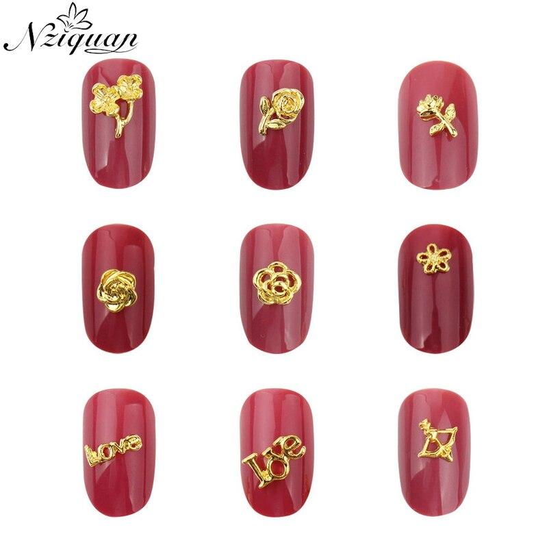 NZIQUAN 20 unids/bolsa de pegatinas de decoración de uñas en 3D, pegatinas de aleación con forma de animal de metal, decoración artística de uñas para mujer