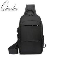 Qiaoduo 2020 Men's Shoulder Bag Waterproof USB Charging Crossbosy Bag Multifunction Shoulder Bags Casual Short Trip Travel Pack