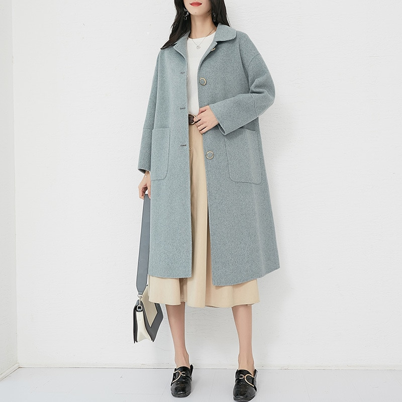 Coréen mode laine manteau femmes longue Double face laine 2020 automne hiver veste dames manteaux vêtements dextérieur CM-3207