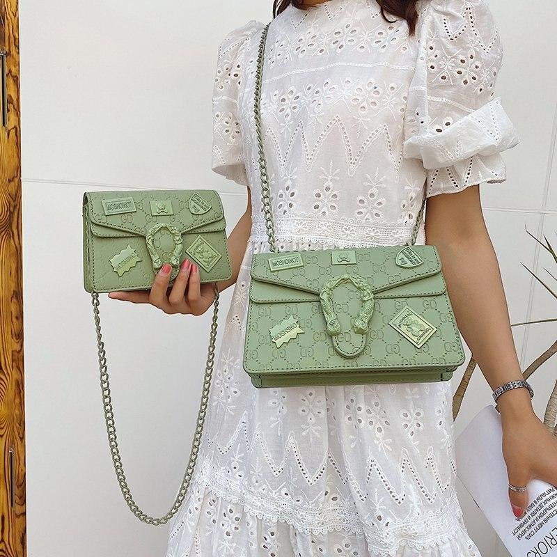 Розового/зеленого цвета женские значки для сумок INS дизайнерские брендовые дамские сумочки цепи большая сумка-почтальенка через плечо, сум...