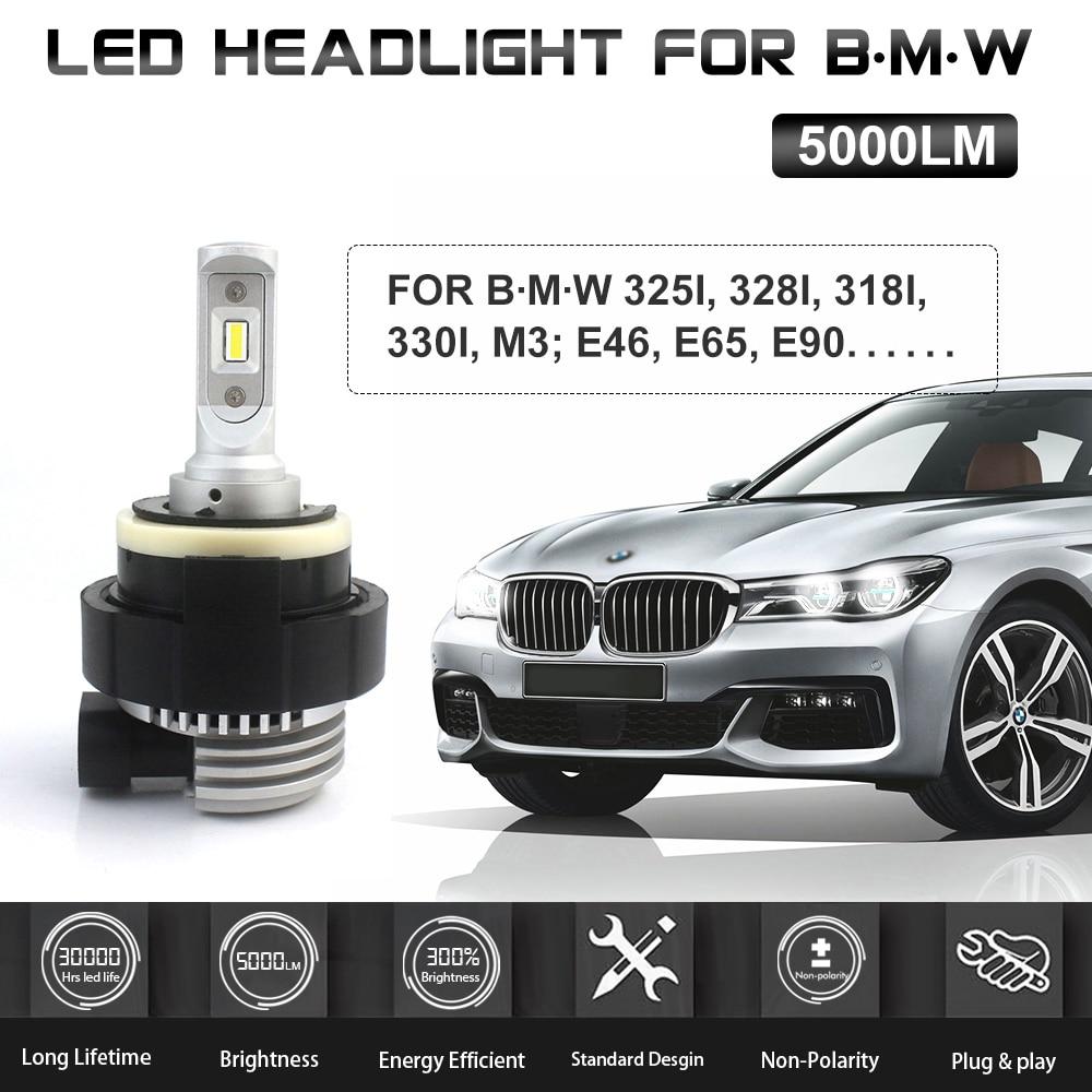 High Quality H7 Plug And Play LED Headlight 5000LM For B.M-W 3 Series E46 E65 E90 Hi/Low Beam 6000K