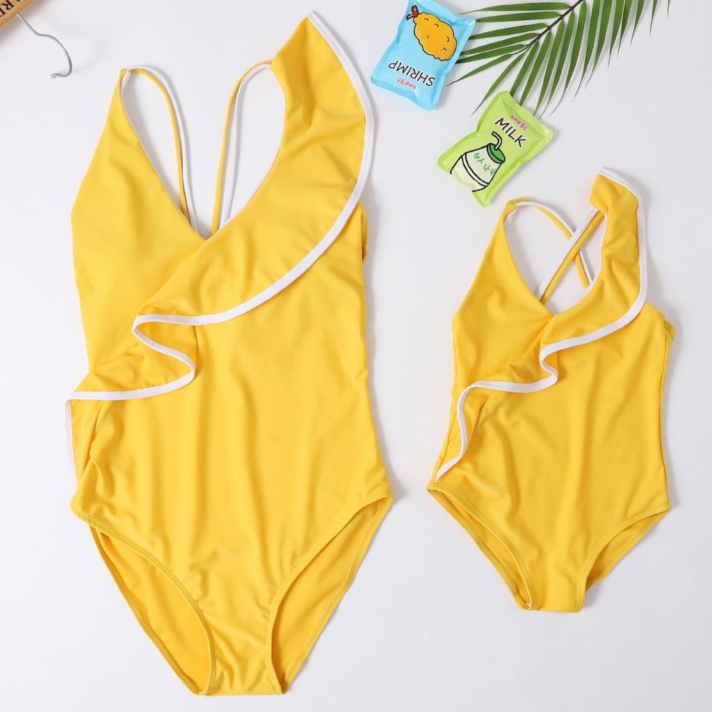 Um pieces bonito bikini família combinando roupas babay crianças menina adulto banho maiô feminino para meninas
