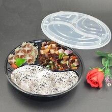 Caixa de almoço redonda descartável de 50 pces com três grades/1500ml (preto)