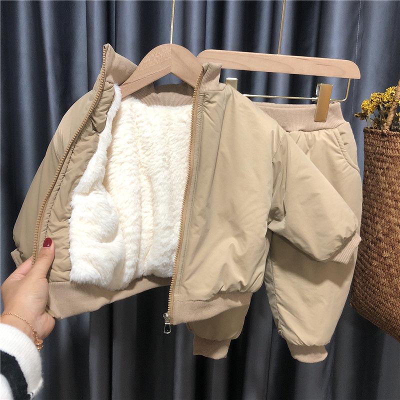 الفتيان الفتيات الخريف والشتاء دعوى 2021 جديد للأطفال طفل زائد المخملية سماكة الدافئة قطعتين دعوى كوريا نمط الملابس