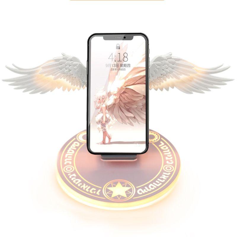 محطة شحن لاسلكية عالمية Qi 10W Angel Wings ، شاحن لاسلكي سريع للهاتف الخلوي Pro X XR 8 Plus