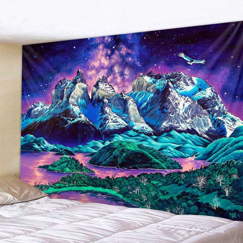Colorful psychedelic landscape wall hanging tapestry Bohemian hippie family dormitory dream decoration yoga mat beach mat colorful large hanging funny text party decoration tapestry wall hanging blanket yoga beach mat home decor house decoration