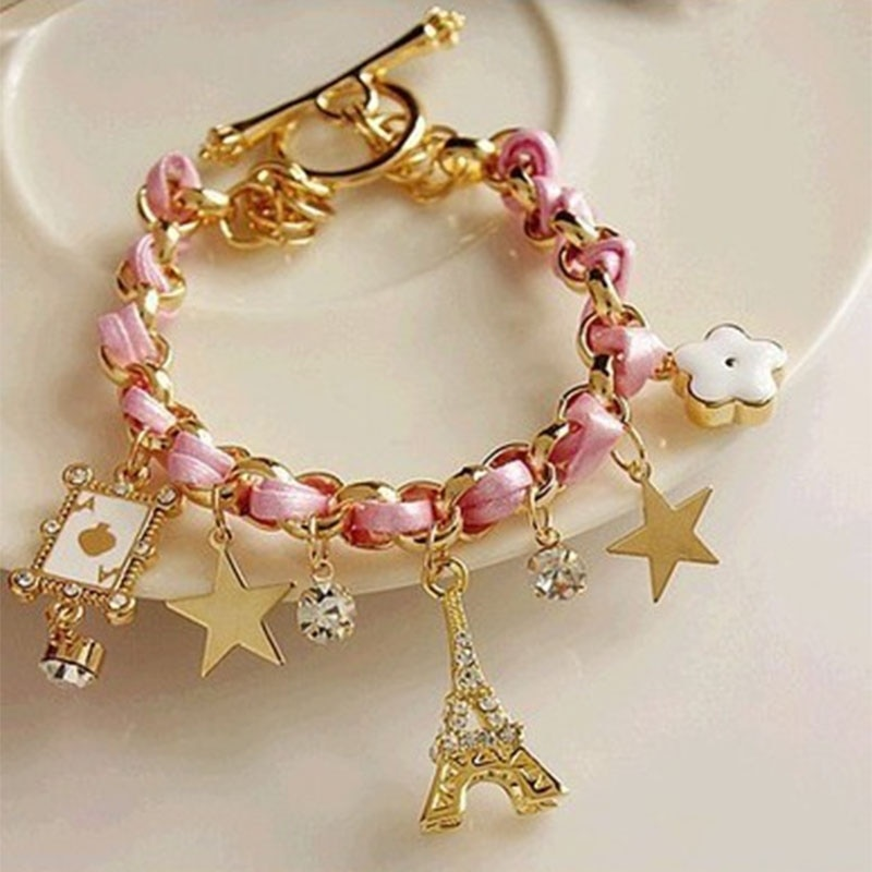 Moda feminina charme pulseira paris torre de ferro couro pentagrama estrela metal pulseira festa presente da menina do feriado