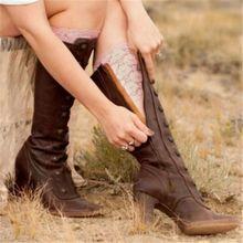 New Fashion Winter PU Leather Women Shoes Knee High Zipper Womens Designer Boots Rivet Riding Low He