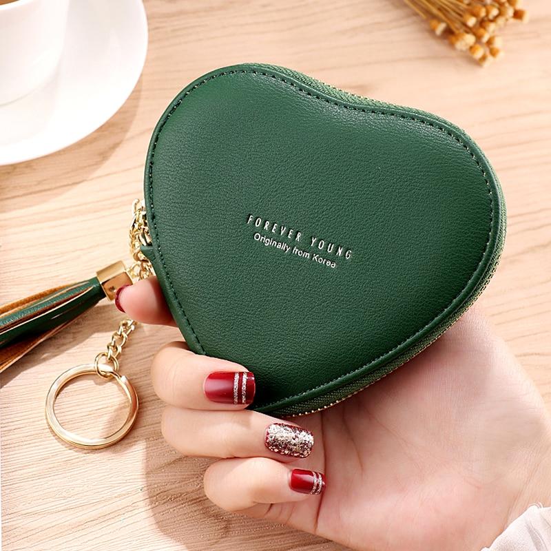 2020 New Fashion Heart shaped PU Leather Coin Purse Women Tassels Zipper Wallet Key Holder Bank Card Coin Bag Girls Mini Handbag