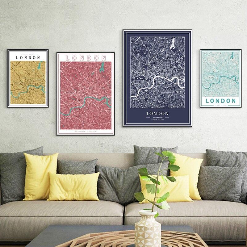 Mapas de la ciudad Capital de Londres, pinturas en lienzo del Reino Unido, mapa colorido, pósteres Kraft Vintage, impresiones de arte recubiertas, regalo de decoración del hogar