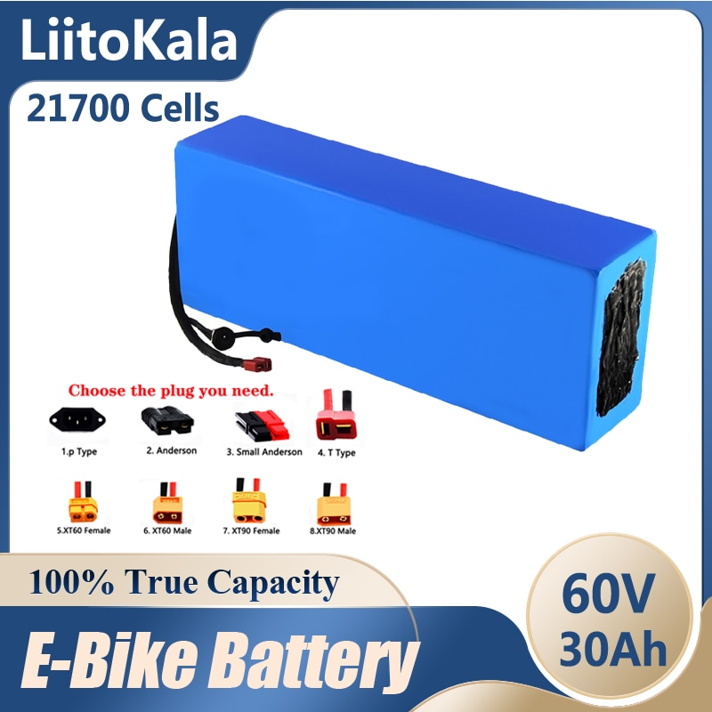 LiitoKala 60 فولت 30ah سكوتر كهربائي bateria 60 فولت 30AH دراجة كهربائية 21700 الليثيوم سكوتر كهربائي 60 فولت 3000 واط بطارية ebike