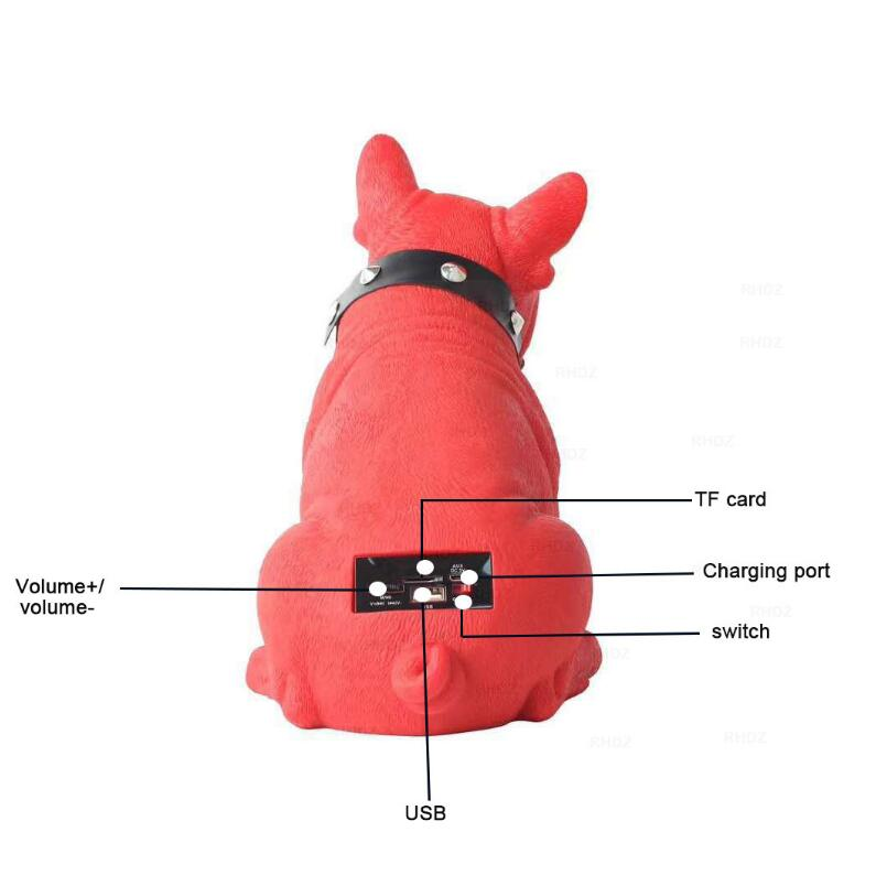 TF USB FM AUX TWS Wireless Bulldog Bluetooth Speaker Card Dog Head Subwoofer Speaker Full Body Dog Cartoon Bluetooth Speakers enlarge