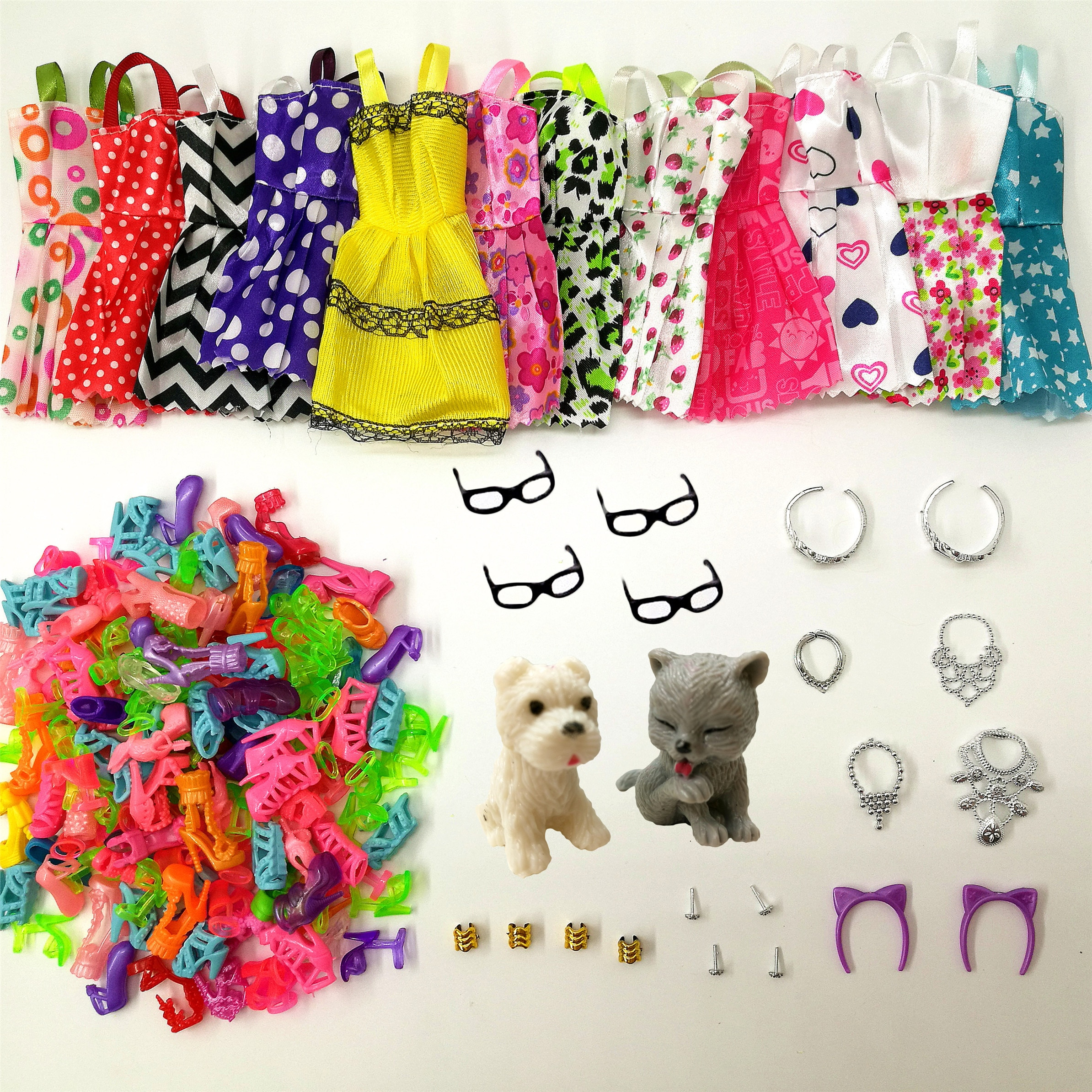 34 шт./комплект аксессуары для кукол = 8 шт. обувь + 4 Ожерелья 4 стекла 2 короны 2 куклы ПЭТ + 8 шт. Одежда для кукол для куклы Барби