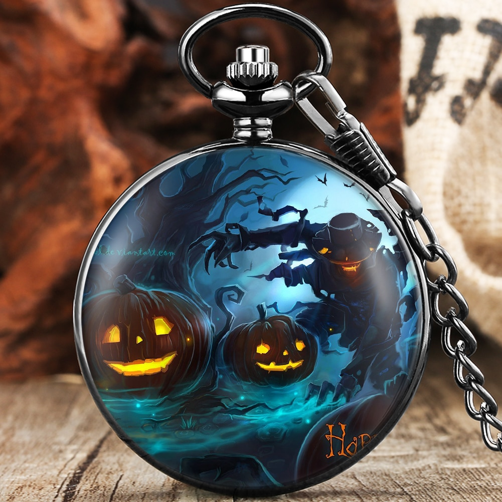 2021 Halloween Cosplay Series Fashion Quartz Pocket Watch Black Fob Clock Chain Number Dial Smooth Pendant Watches Unisex Gifts new fashion silver quartz men pocket watch man arabic roman number fob watches smooth surface hour gift short chain dual display