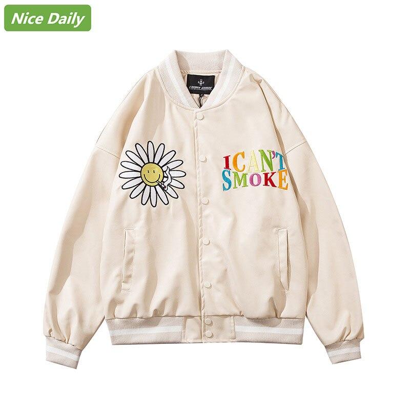 NiceDaily, мужская куртка-бомбер из искусственной кожи в стиле пэчворк, демисезонная мужская бейсбольная куртка с вышивкой Маргаритки