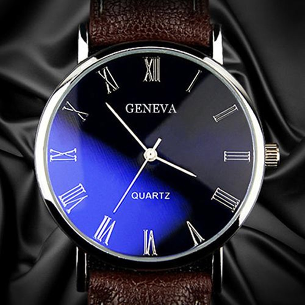 Men Watch Roman Numerals Blu-Ray Faux Leather Band Quartz Analog Business Wrist Watch