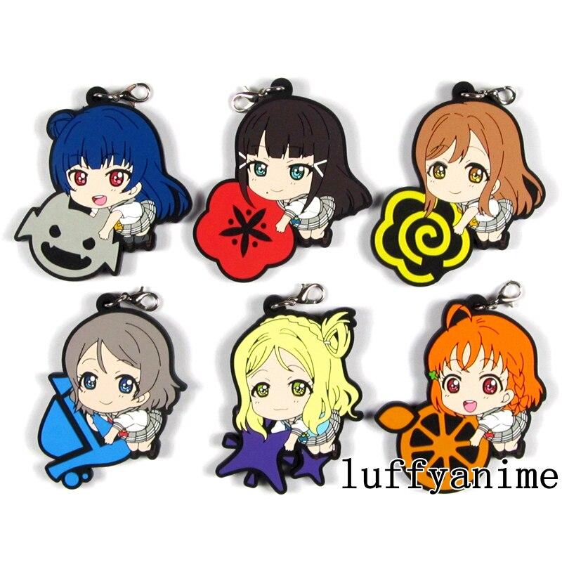 LoveLive! Sunshine!! Aqours Mascot Rubber Pendant Watanabe You Takami Chika Kurosawa Dia anime phone Strap Keychain
