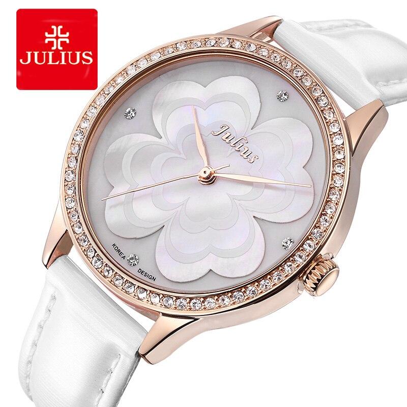 Reloj de pulsera Julius Lady de trébol de cuatro hojas de madre de perla reloj de moda de horas pulsera de cuero Real Regalo de Cumpleaños de niña de San Valentín