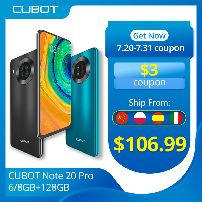 Cubot Note 20 Pro cuádruple cámara Smartphone NFC 6GB/8GB RAM + 128GB...