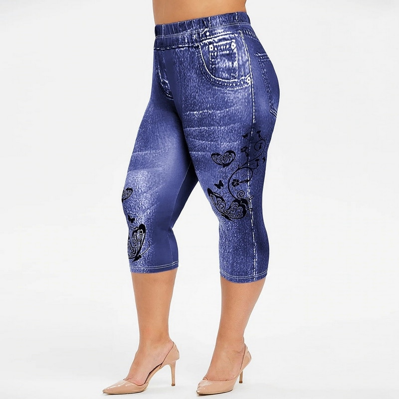 Muyogrt Leggings Mujer pantalones vaqueros falsos Stretch Leggings cortos 4  3 Capri pantalones de verano Pantalones de alta cintura Fitness Jeans Leggings