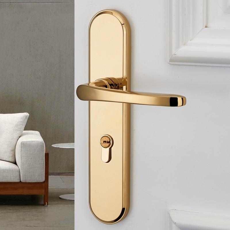 قفل باب داخلي ، غرفة نوم قفل باب بسيط ، عالمي صامت قفل الباب المغناطيسي ، سبليت/لوحة نوع مقبض الباب الذهبي