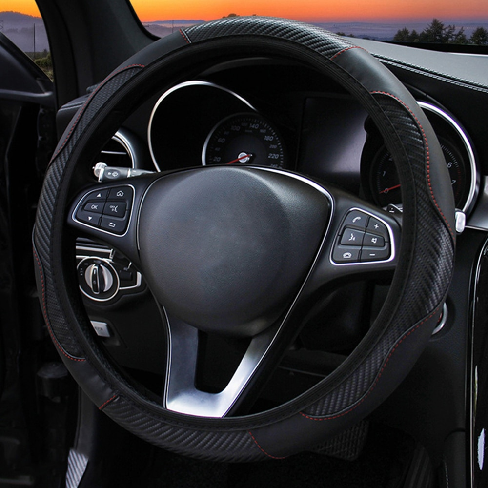Car Steering Wheel Cover Breathable Anti Slip PU Leather Steering Covers Suitable 38cm Auto Decoration internal Accessories enlarge