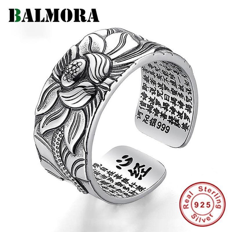 BALMORA, 925, Anillos de estudio de loto plateado con flores de ley para mujeres, hombres, corazón budista, Sutra, Anillos de moda, regalo de joyería