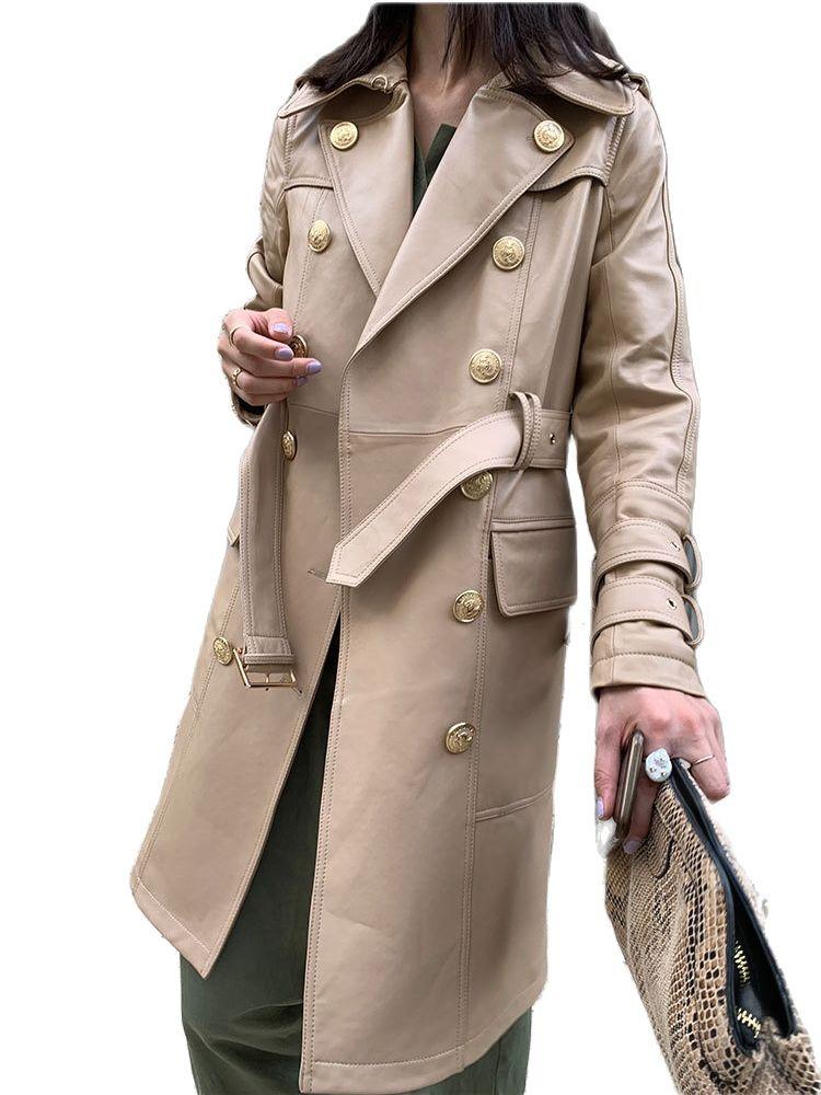 women sheepskin long coat double breasted jacket geunine leather windbreaker for women leather jacket women leather jacket belt