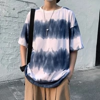 gradient striped tie dye t shirt men and women couples summer harajuku style short sleeved loose wild five point sleeve tide